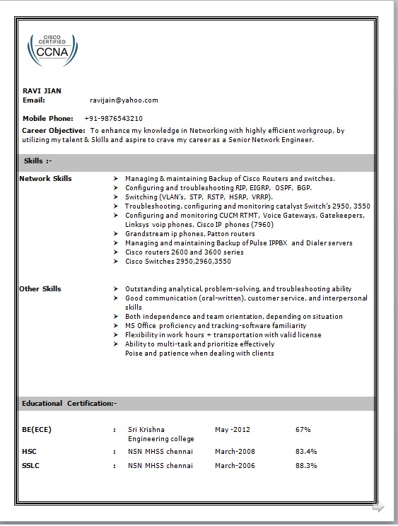 Hardware And Networking Resume Format Pdf