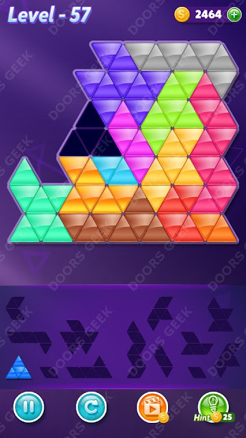 Block! Triangle Puzzle Champion Level 57 Solution, Cheats, Walkthrough for Android, iPhone, iPad and iPod
