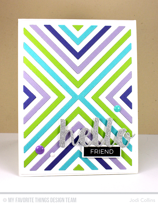 Handmade card from Jodi Collins featuring Pretty Label Maker Sentiments stamp set, Label Tape, Hello There, Four Way Chevron Cover-Up, and Blueprints 2 Die-namics #mftstamps