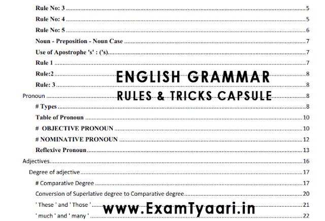 English Grammar 85 Page Notes Capsule with Rules and Shortcuts Tricks - PDF Download - Exam Tyaari