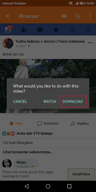 aplikasi ini memberikan pilihan untuk melihat langsung (streaming) atau download (menyimpan video di hp)