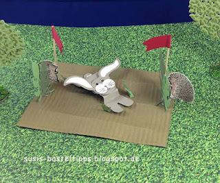 Stampin up Miniatur märchenlandschaft mit Hase und Igel