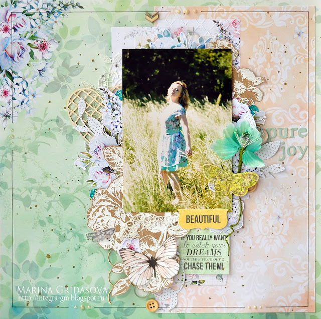 Beautiful | Guest Designer in Magic of Creative @akonitt #layout #by_marina_gridasova #guestdesigner #paper #manufacturersguestdesigner #chipboard #theminiart #flower