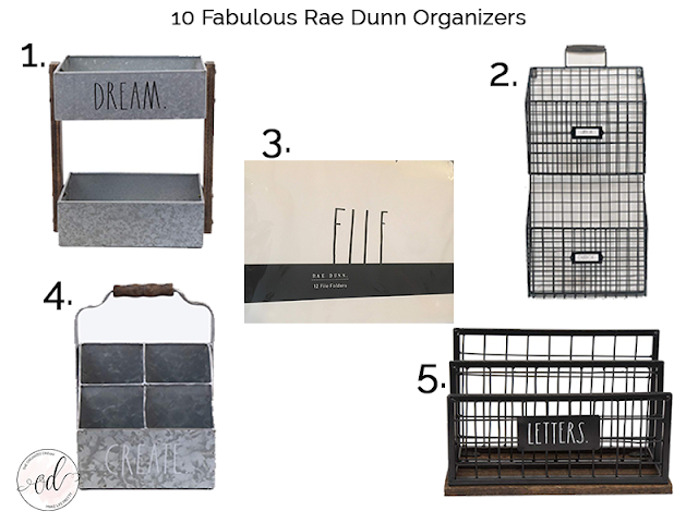 Rae Dunn bins and storage for your farmhouse style home.
