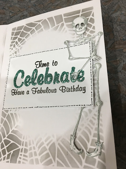 Pumpkin Birthday Skeleton Card