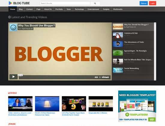 BlogTube Responsive Video Blogger Template