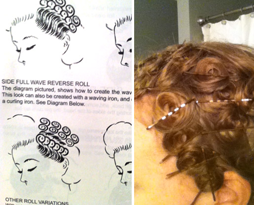 Pin Curl Diagram Wiring Dodge Ram 2500 Bouffants And Beehives Lucille Ball Tutorial Left Setting For Side Waves Right My Attempt At The