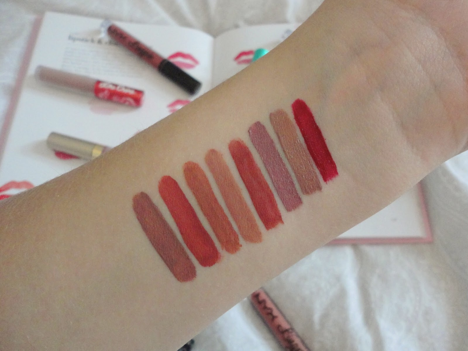 swatches of liquid lipsticks
