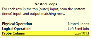 Nested Loops Semi Join with Probe Column