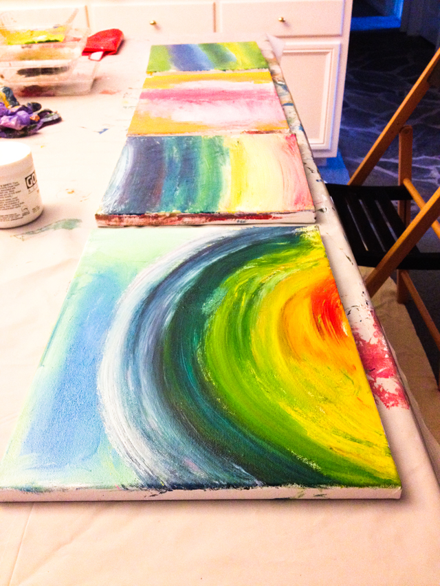 Limiting my paint palette to 4 colors and creating rainbows