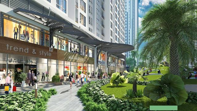 Không gian cây xanh được xây dựng bao quanh dự án ICID Complex