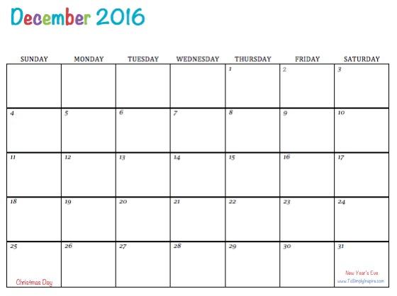 get printable calendar december 2016 printable calendar pdf excel word