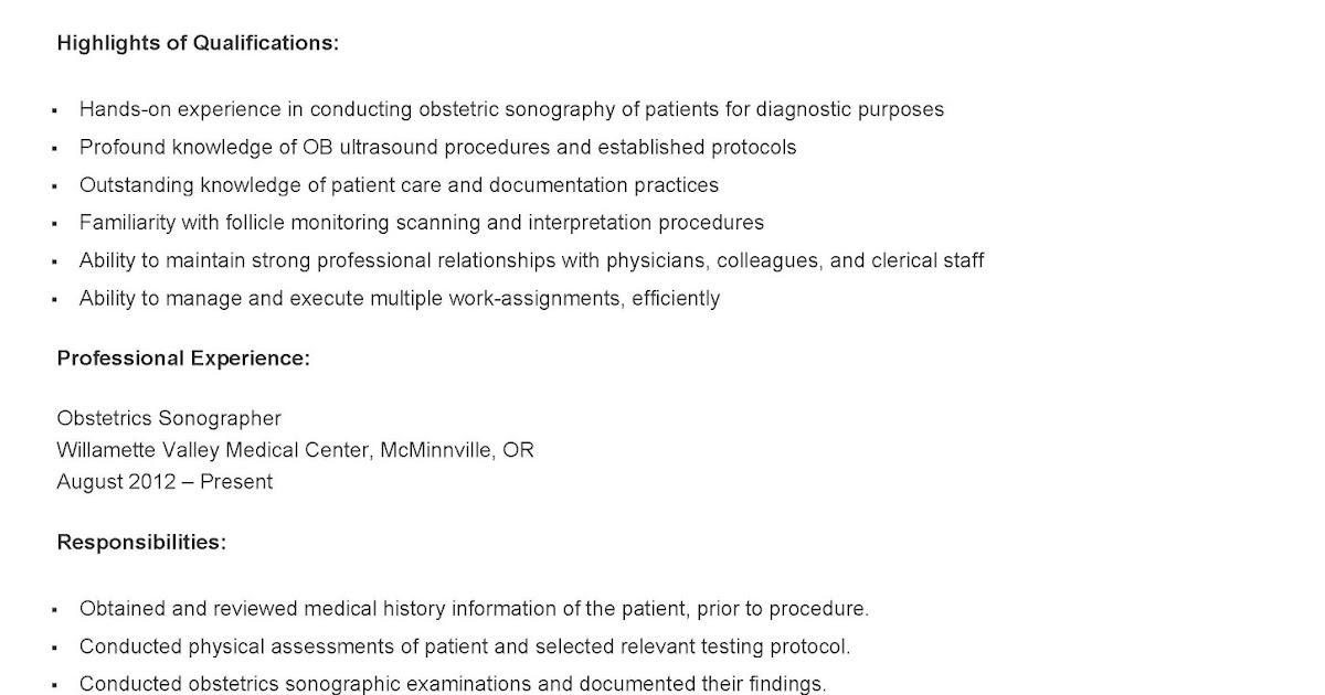 Resume Samples Sample Obstetrics Sonographer Resume