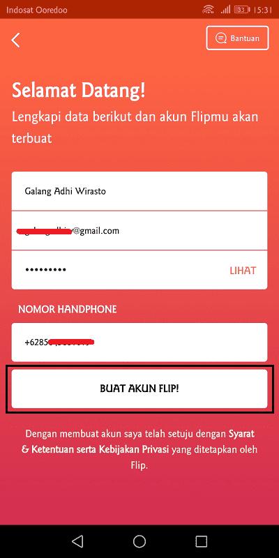 untuk mendaftar flip, pengguna diharuskan mengisi email dan nomor telepon