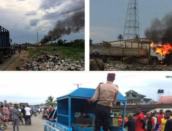 Dangote Trailer Set On Fire In Delta After Killing Bike Man, Father and His Daughter