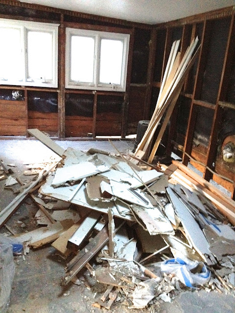 Coco's remodeling progress-debris all over the fllor
