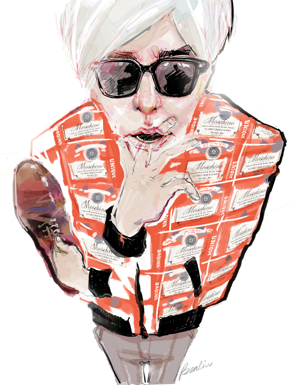 Andy Warhol in Moschino fashion illustration