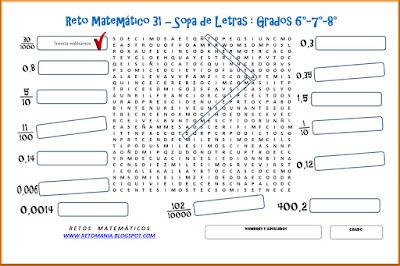 Decimales, Fracciones Decimales, Números Decimales, Expresión Decimal, Sopa de Letras