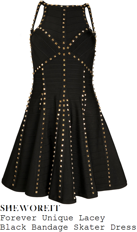 The Studded Black and Gold Strappy Black Dress consists of a simple black fitted mini dress with a rounded neckline and wide shoulder straps. Gold spiked studs embellishments JavaScript seems to be disabled in your browser.