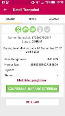 Detaial transaksi belanja online di Bukalapak.