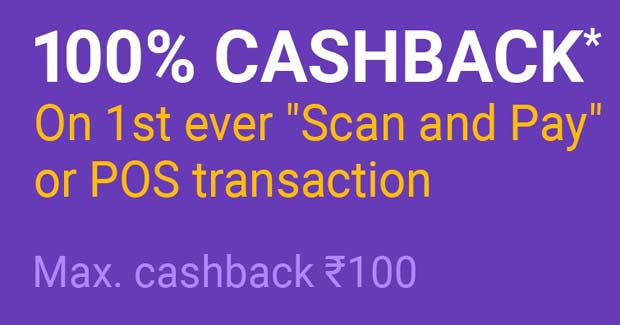 Scan and Pay get 100rs Cashback in PhonePe