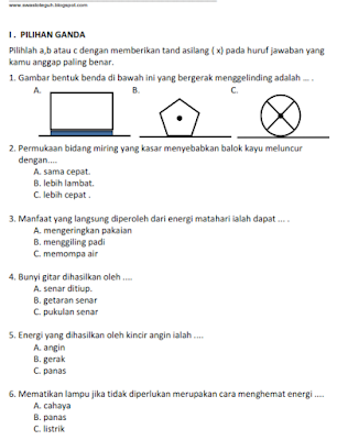 download Soal UKK IPA Kelas 3 Th 2015-2016  ktsp semester 2