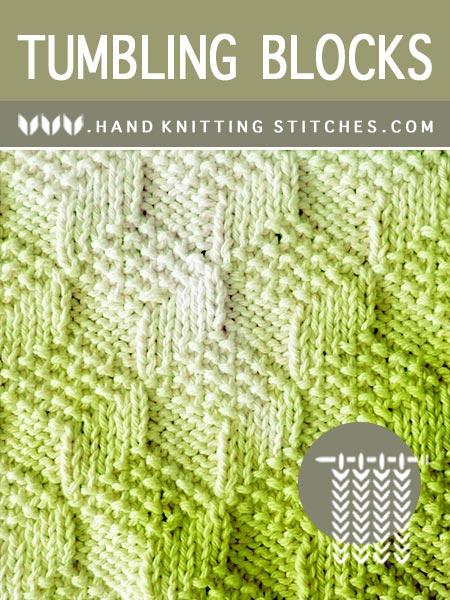 Hand. Knitting Stitches - Tumbling Moss Blocks #KnitPurl Pattern