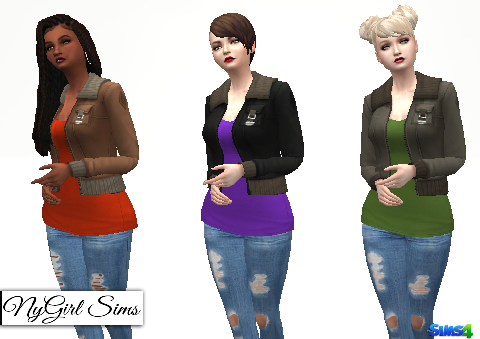 NyGirl Sims 4: Army Jacket with Tee
