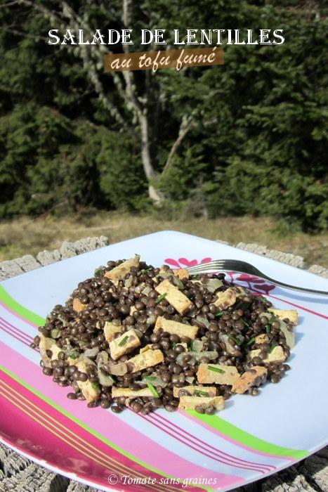 Salade de lentilles au tofu fumé