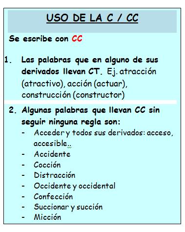 QUINTO ATALAYA: Reglas ortográficas (c /cc)