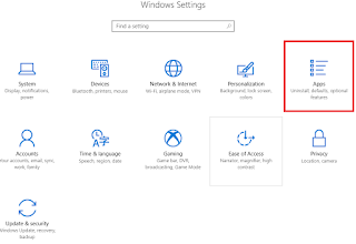 buka windows setting apps