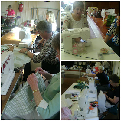 Skipton Embroiderer's Guild members making fabric bags