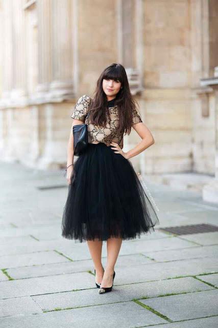 falda de tul negra larga