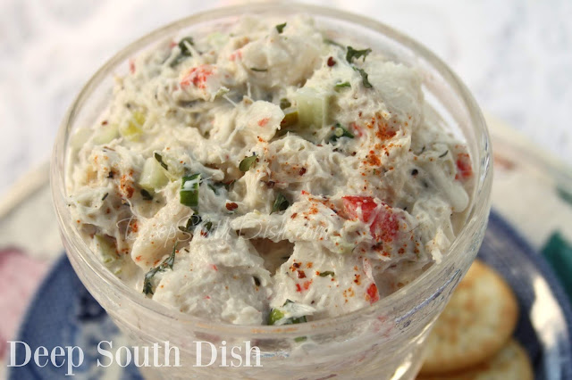 A mixture of fresh and imitation crab, veggies and a homemade ranch style dressing, perfect for a sandwich, snacking or stuffed into a tomato or avocado halve.