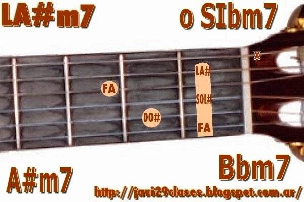 LA#m7 = SIbm7 acorde de guitarra
