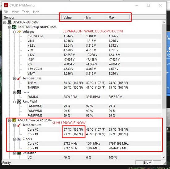 cara mengetahui suhu processor