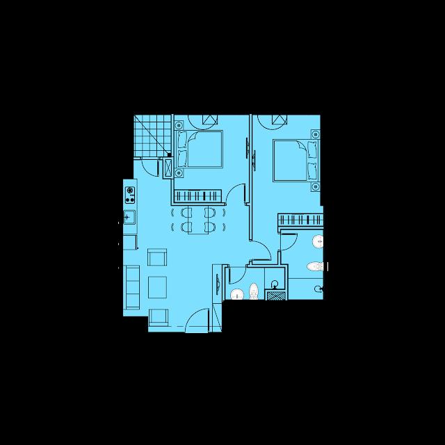 Thiết kế căn hộ A2 - 68,6m2 tòa River1 EuroWindow River Park