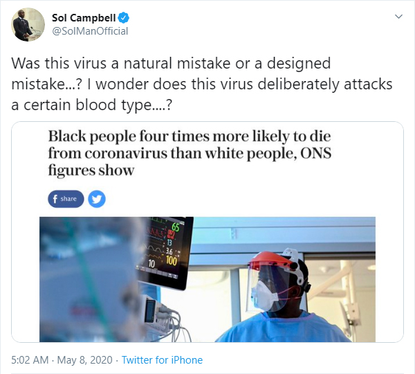 Sol Campbell shares coronavirus conspiracy theory on Twitter