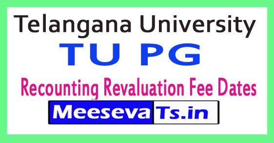 Telangana University TU PG Recounting Revaluation Fee Dates