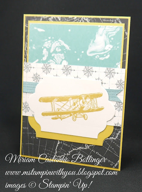 Miriam Castanho-Bollinger, #mstampinwithyou, stampin up, demonstrator, ppa, masculine card, going places dsp, sky is the limit stamp set, lots of labels framelits, big shot, su