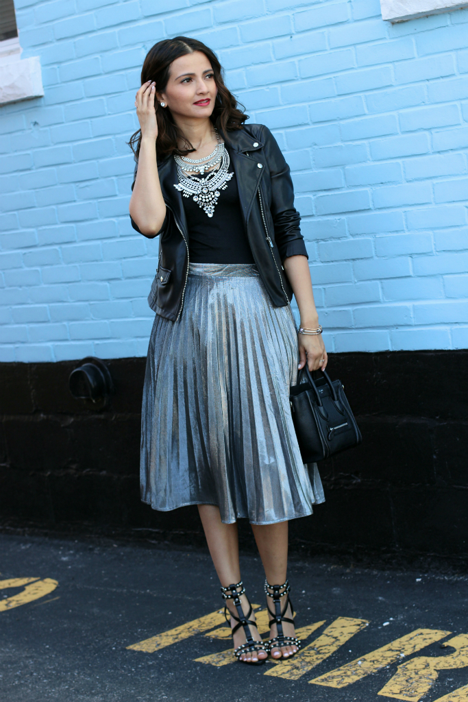 Moto Jacket, Silver Pleated Midi Skirt, Celine Nano Bag, Zara studded heels