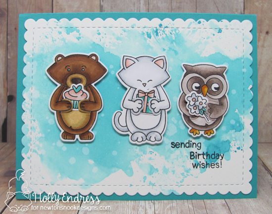 Hugging Animal Friends Birthday Card by Holly Endress | Sending Hugs Stamp Set by Newton's Nook Designs #newtonsnook #handmade
