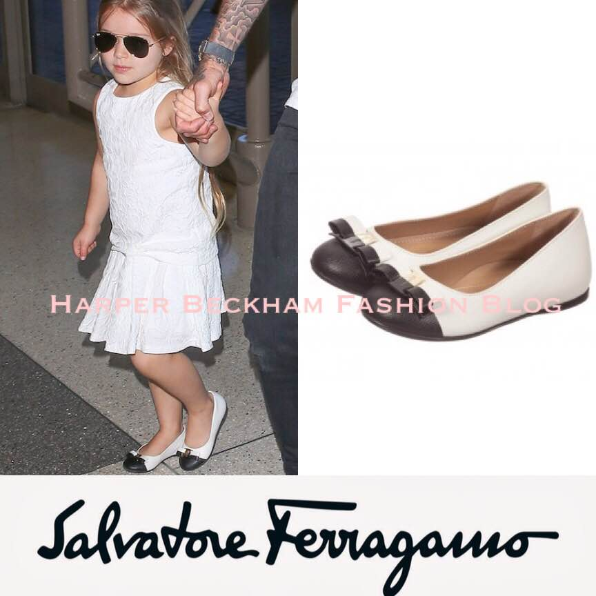 40c9c7d24 Harper was wearing Pleated Voile Ivory Dress SS15 by Chloe (first seen on  May 4th 2015) and a new pair of and Varina Flats by Ferragamo Mini.