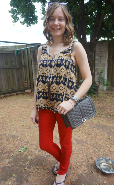 Away from Blue Casual Movie Date Outfit red skinny jeans Aztec print tank