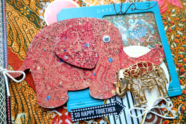 Stamped Stenciled and Embossed Elephants on Sari Wrapped Journal Tutorial by Dana Tatar