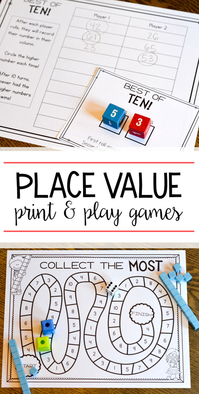 Sizzling image for printable place value game