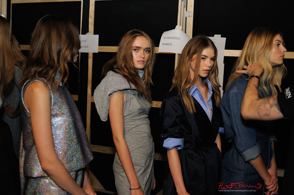 Models backstage at MBFWA. Photography by Kent Johnson.