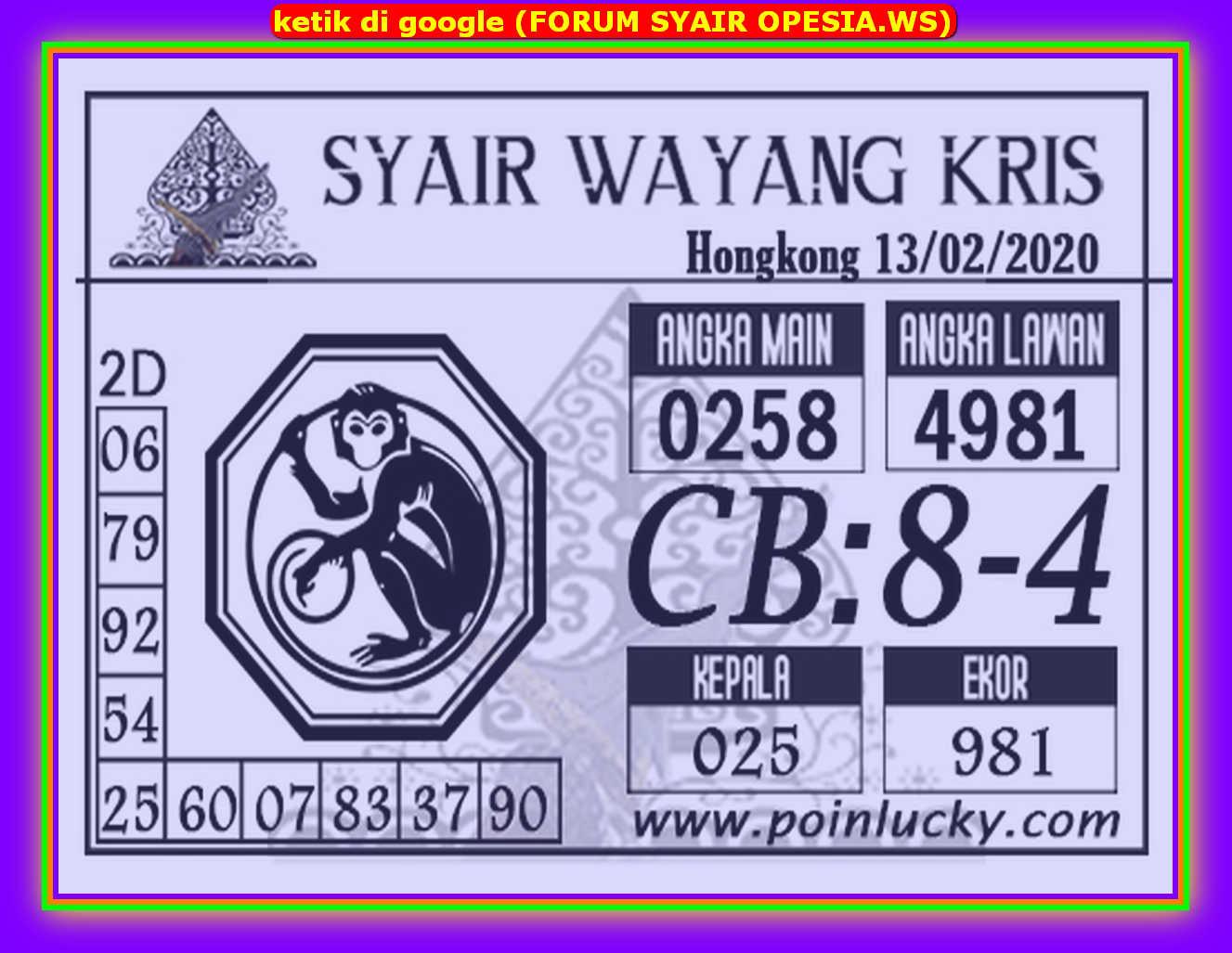 Kode syair Hongkong Kamis 13 Februari 2020 178
