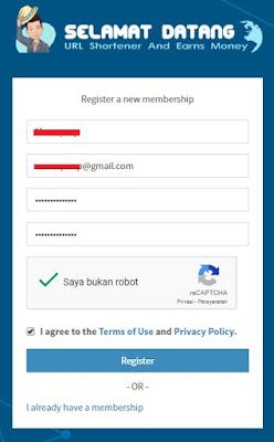 isi registrasi safelink blogger