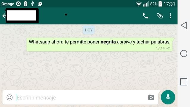 """Whatsapp llega con nueva actualización, """"Negritas, cursiva y tachado de palabras"""""""